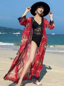 Vocation Fashion Lace Splicing Flowers Chiffon Beach Dress