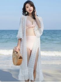 Fashion Summer Lace Flowers Tassels Split Bikini Dress