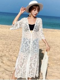 Fashion Summer Lace Flowers Sun-block Bikini Dress