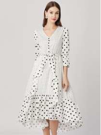 Europe Stylish High Waist V-neck Dots Flouncing Maxi Dress