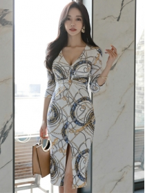 Wholesale Korea Twisted V-neck Flowers Split Slim Dress