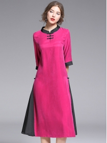 Europe Fashion Color Block Cheongsam Loosen A-line Dress