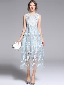 Summer Wholesale High Waist Flowers Embroidery Long Dress