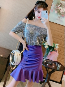 Sexy Fashion 2 Colors Sequins T-shirt with Fishtail Short Skirt