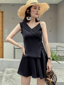 Fashion Korea V-neck Straps Flouncing Two Pieces Dress