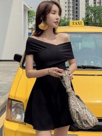 Korea Stylish Cross Boat Neck Short A-line Dress