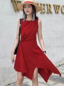 Elegant Fashion Round Neck Pleated Waist Tank A-line Dress
