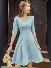 Modern OL Square Collar Fitted Waist Flouncing Dress