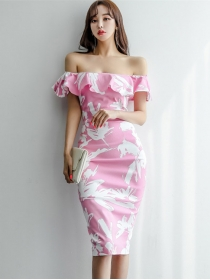 Sexy Lady Flouncing Boat Neck Flowers Skinny Dress