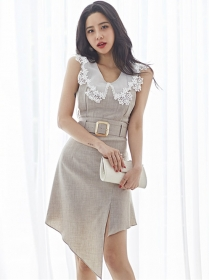 Modern Lady Lace Doll Collar Sloping Slim Dress Set