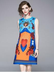 Europe Wholesale Round Neck Heart Flowers Tank Dress