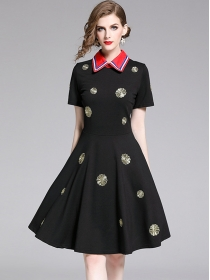 Quality New Doll Collar Flowers Embroidery A-line Dress
