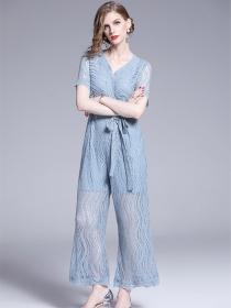 Europe Stylish 2 Colors Tie Waist Wide-leg Lace Long Jumpsuit