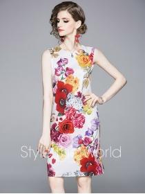 Charming Lady Flowers Printings Bodycon Tank Dress