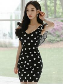 Wholesale Korea Flouncing Round Neck Dots Slim Dress