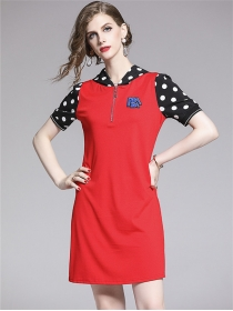 Wholesale Stylish 2 Colors Dots Hooded Short Sleeve Dress