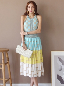 Fashion Wholesale Color Block Plaids Knitting Tank Dress