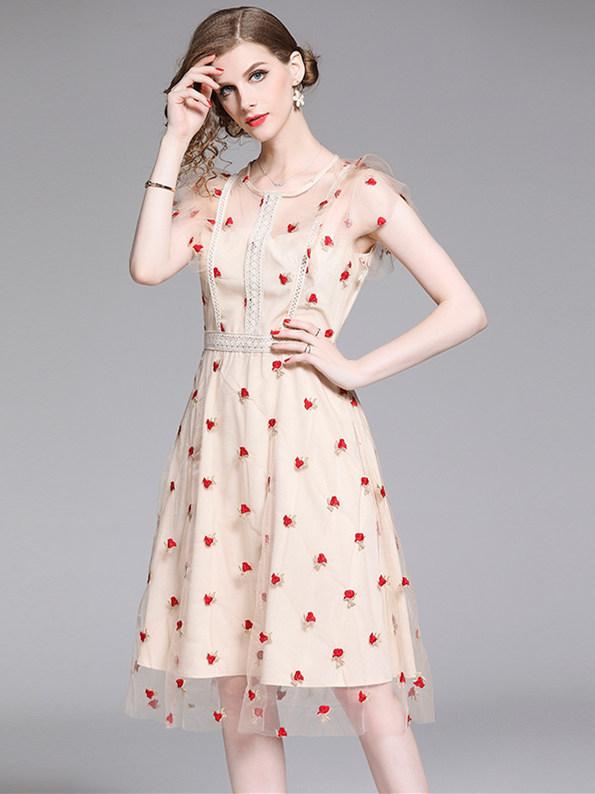 Pretty Fashion Flowers Embroidery Gauze A-line Dress