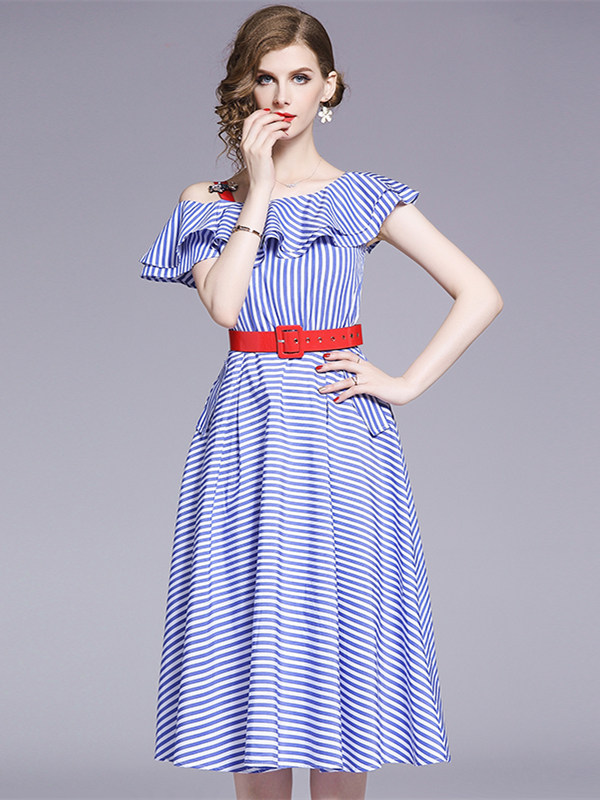 Fashion Europe Flouncing Boat Neck Stripes A-line Dress