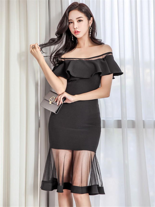 Grace Fashion Flouncing Boat Neck Gauze Fishtail Slim Dress