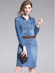 New Arrive Shirt Collar Long Sleeve Bodycon Denim Dress