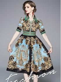Europe Retro Fashion Flowers High Waist A-line Dress