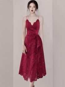 Quality Fashion V-neck Lace Flouncing Straps Dress