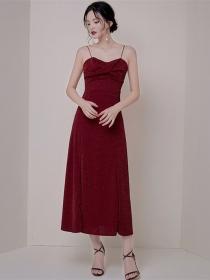 Modern Lady Pleated Bust Split Straps Long Dress