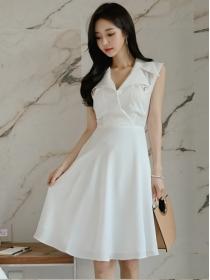 Korea Stylish Tailored Collar Flouncing Tank A-line Dress