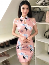 Wholesale Cran Printings Off Shoulder Cheongsam Dress