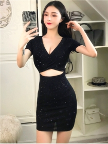 Wholesale Sexy Hollow Out V-neck Shining Dress