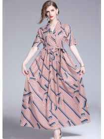 Fashion Europe High Waist V-neck Stripes Maxi Dress