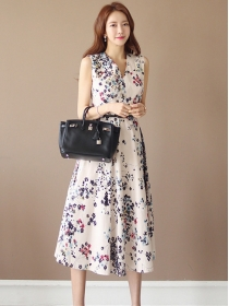 Fashion Korea V-neck Flowers Printing Tank A-line Dress