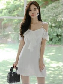 Sexy Charming Flouncing Boat Neck Straps Slim Dress