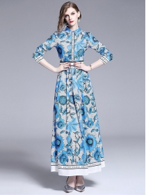Pretty Fashion High Waist Flowers Printing Maxi Dress