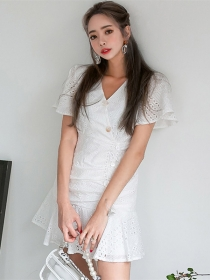 Fashion Korea Single-breasted V-neck Hollow Out Fishtail Dress