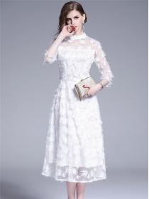 Fashion Europe High Waist Flowers Embroidery Long Dress