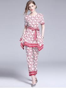 Europe Stylish Tie Waist Letters Printings Slim Leisure Suits
