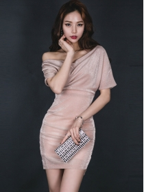 Sexy Fashion 2 Colors Off Shoulder Pleated Bodycon Dress
