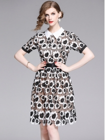 Quality Fashion Shirt Collar Flowers Hollow Out A-line Dress