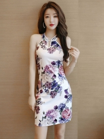 Fashion Retro Off Shoulder Flowers Cheongsam Dress
