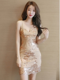 Sexy Lady Sequins Flowers Low V-neck Straps Dress