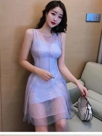 Wholesale Fashion Gauze Transparent Round Neck Tank Dress