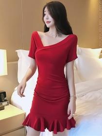 Fashion Wholesale V-neck Fishtail Slim Short Sleeve Dress