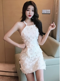 Charming Fashion Beads Flowers Straps Dress
