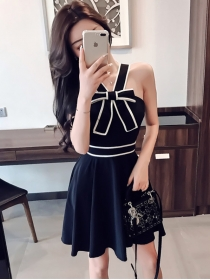 Lovely Fashion Bowknot Flouncing Straps Dress