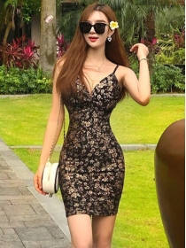 Wholesale Sexy Low V-neck Gilding Flowers Straps Dress