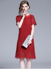 Summer New Bowknot Round Neck Lace A-line Dress