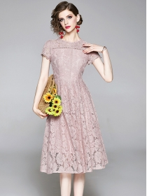Pretty Europe 2 Colors High Waist Flowers Lace A-line Dress