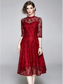 Fashion Summer 2 Colors Lace Flowers Mid-sleeve Dress